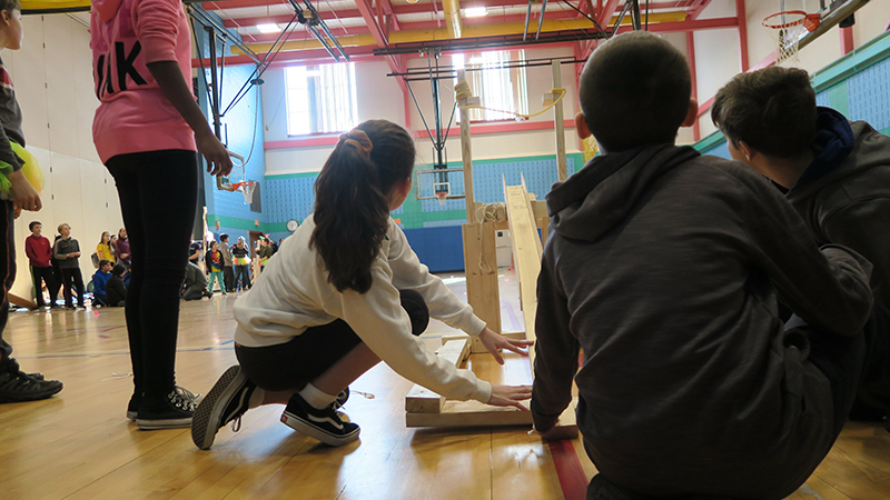 Kennedy students fire a catapult