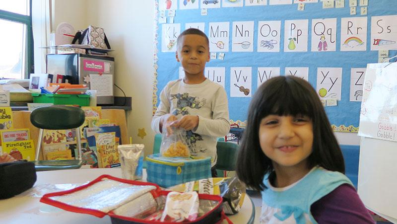 Two Capuano students enjoying snack
