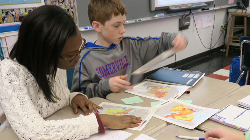 Students work on map project