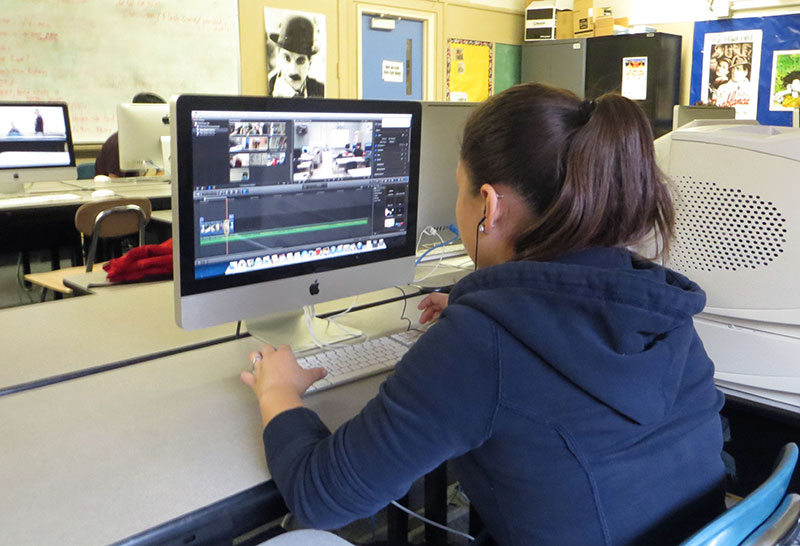 SHS student working on a video project