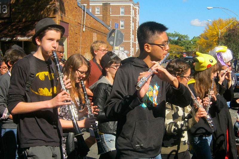 SHS Band students playing on the street during the HONK Festival