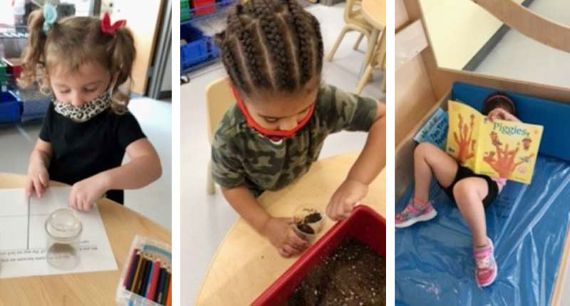 Photos of children learning and reading