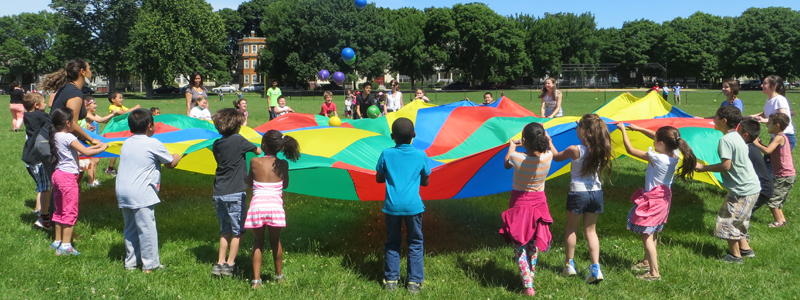 Students playing in Foss Park
