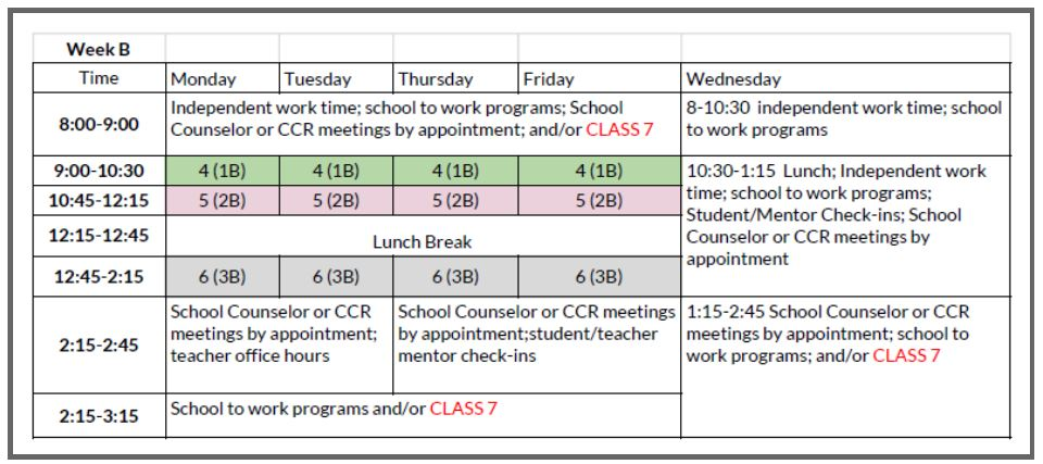Week B Student Schedule