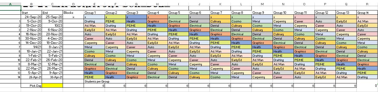 CTE Exploratory Schedule