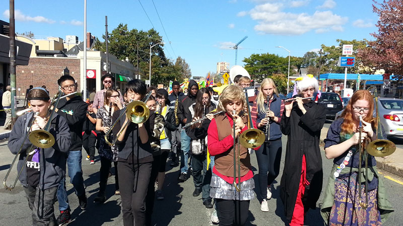 High School students playing instruments at Honk Festival