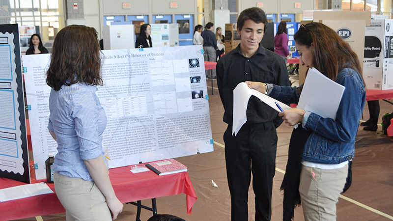 Students presenting at the Science Fair