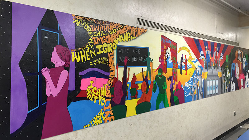 Student created cafeteria mural