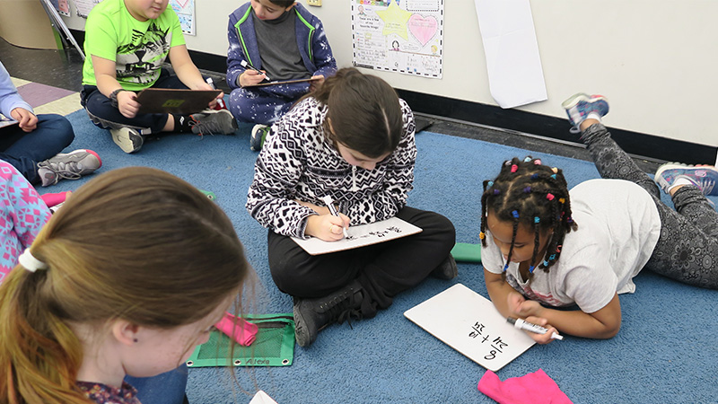 Students working on math problems
