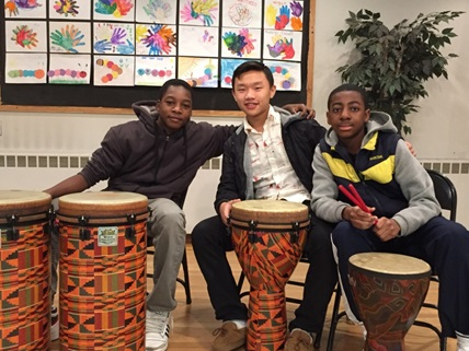 8th Graders at WSNS during world percussion music class