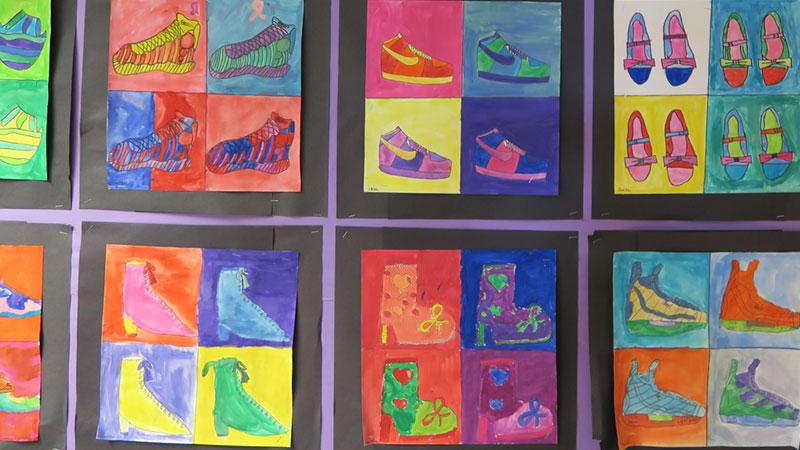 Student paintings on display